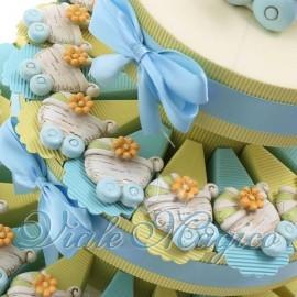 Torta Portaconfetti Magnete Carrozzina Shabby Celeste
