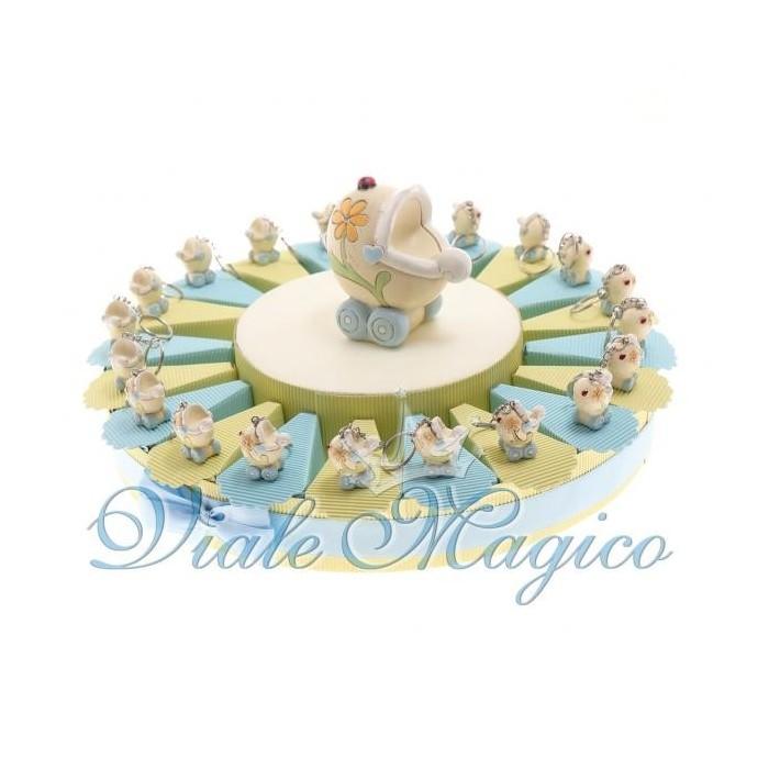 Bomboniere Nascita Battesimo Torta Confetti Portachiave Carrozzina Flower Bimbo