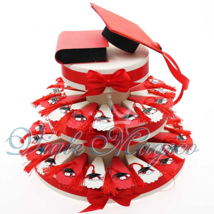Torta Bomboniere Portaconfetti Laurea con Cappello e Nappina Confettata Offerte