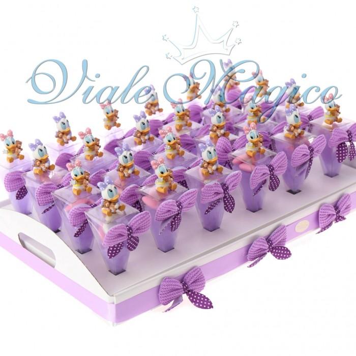 Bomboniere Nascita Battesimo Primo Compleanno Vassoio con Coni Paperina Disney