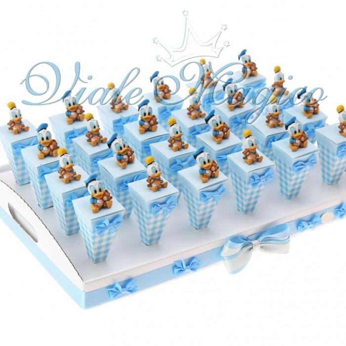 Bomboniere Nascita Primo Compleanno Coni a Quadretti Paperino Disney
