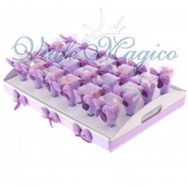Bomboniera Matrimonio Compleanno Coni Lilla con Vassoio con Confetti Crispo