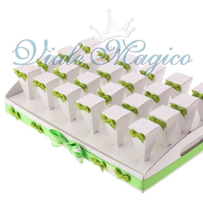 Bomboniere Coni Verde con Vassoio Promessa Matrimonio Confettata Bouffet