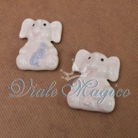 Magnete Elefante Porcellana Celeste Rosa