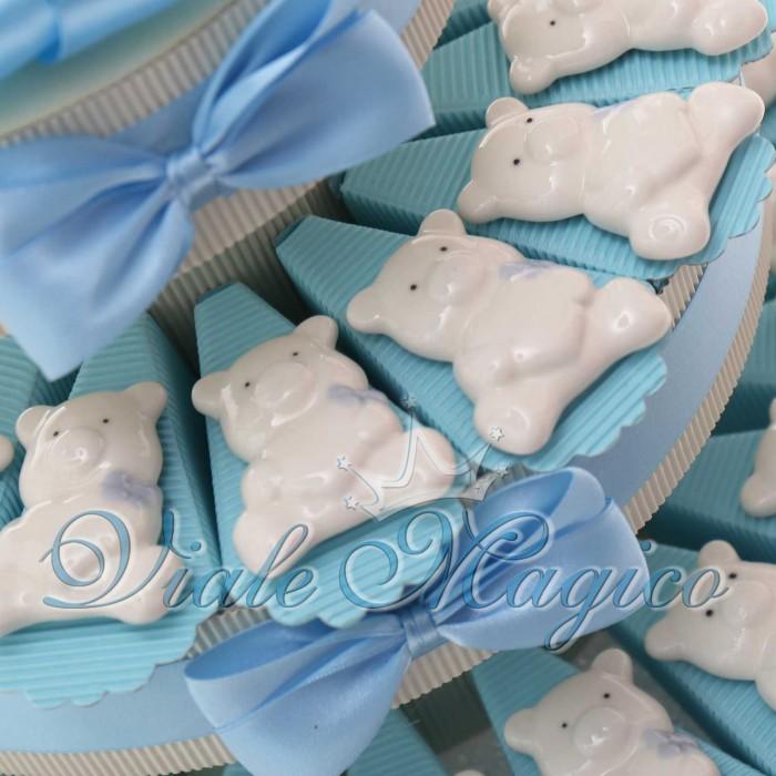 Torta Bomboniere Nascita Battesimo con Magnete Orsetti Bimbo in Porcellana
