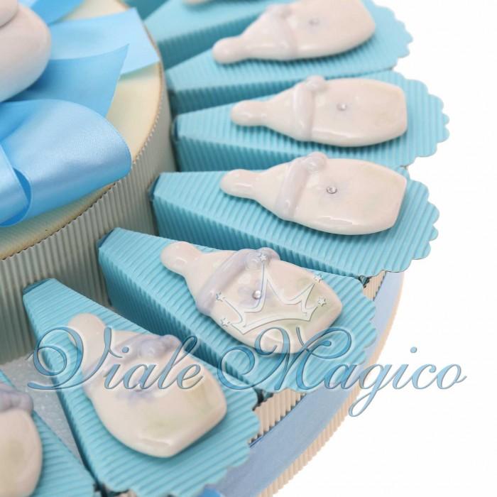 Torta Bomboniere Nascita Battesimo con Magnete Biberon Bimbo in Porcellana