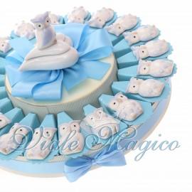Torta Bomboniere Nascita Battesimo con Magnete Gufetto Bimbo in Porcellana
