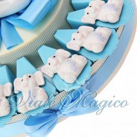 Torta Bomboniere Nascita Battesimo con Magnete Elefante Bimbo in Porcellana