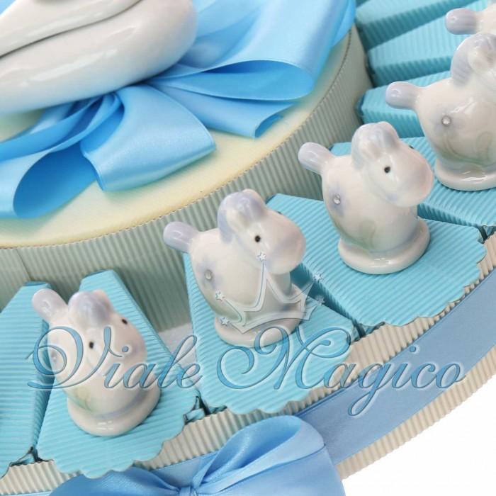 Torta Bomboniere Nascita Battesimo Statuina Pony Bimbo in Porcellana