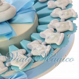 Torta Bomboniere Nascita Battesimo Magnete Pony Bimbo in Porcellana