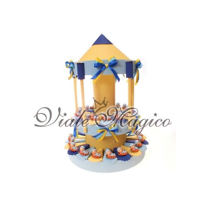 Bomboniere Nascita Battesimo Torta 35 Statuine Bimbo su Cuscino
