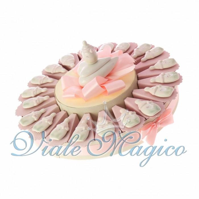 Torta Bomboniere Nascita Battesimo Magnete Biberon Rosa in Porcellana