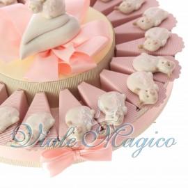 Torta con Magnete Coccinella Rosa in Porcellana