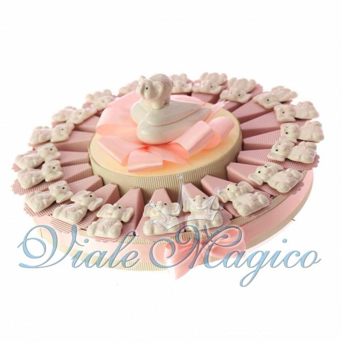 Torta Bomboniere Nascita Battesimo con Magnete Elefante Rosa in Porcellana