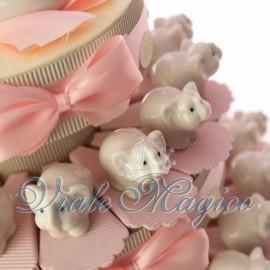 Torta con Statuina Elefante Rosa in Porcellana