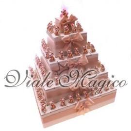 Torta 95 Statuine Orsetto Panna e Rosa