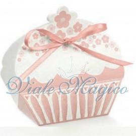 Porta Confetti Cupcake fiorellini Rosa Tortora Bouffet Dolci Matrimonio