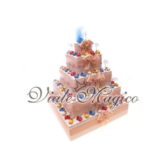 Bomboniere Compleanno Bimbo Torta 95 Memoclip Macchinine Cabrio Colorate