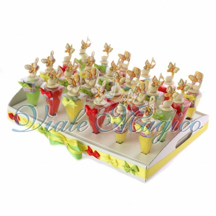 Bomboniere Omaggio Vassoio Coni Compleanno con Statuina Farfalle su Note