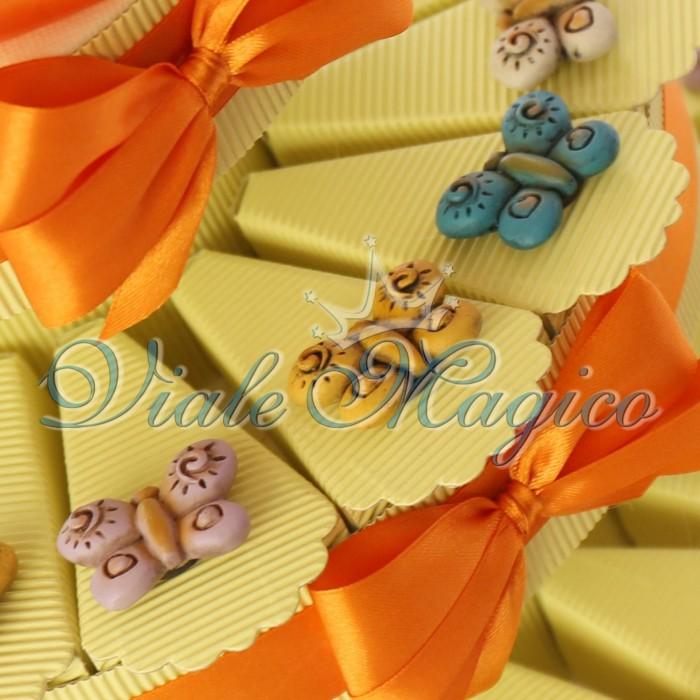 Bomboniere Torta Portaconfetti Magnete Farfalle Colorate Compleanno Matrimonio