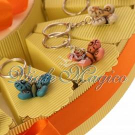 Torta Confetti con Portachiavi Farfalle Colorate