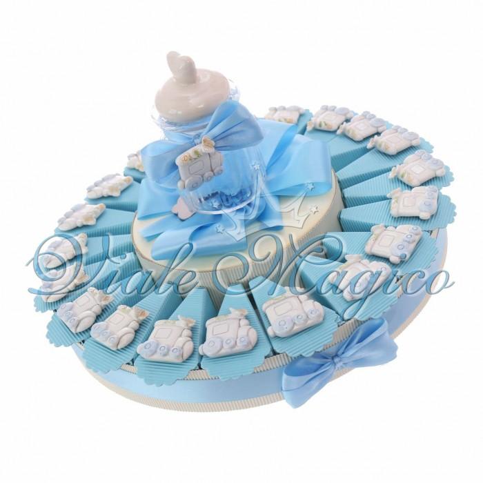 Torta Bomboniere Nascita Battesimo Bimbo con Magnete Trenino Lucido
