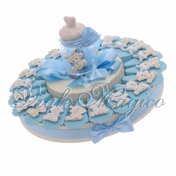 Bomboniere Nascita Battesimo Torta Bimbo con Magnete Orsetto con Cappello