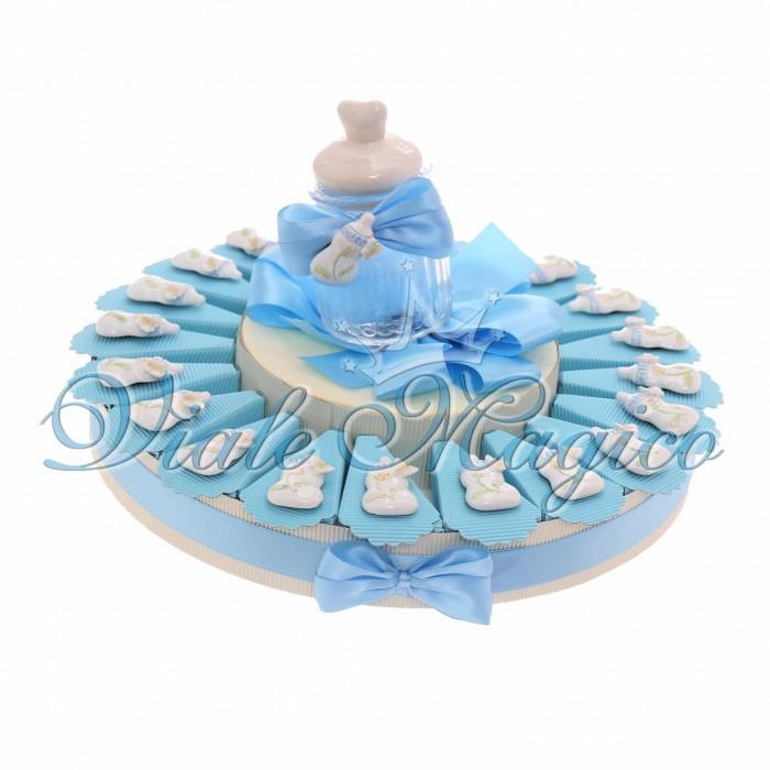 Torta Bomboniere Nascita Battesimo Bimbo con Magnete Biberon Lucido
