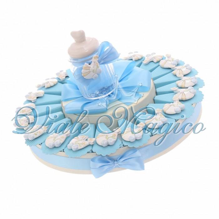 Torta Bimbo Bomboniere Nascita Battesimo con Magnete Carrozzina Lucido