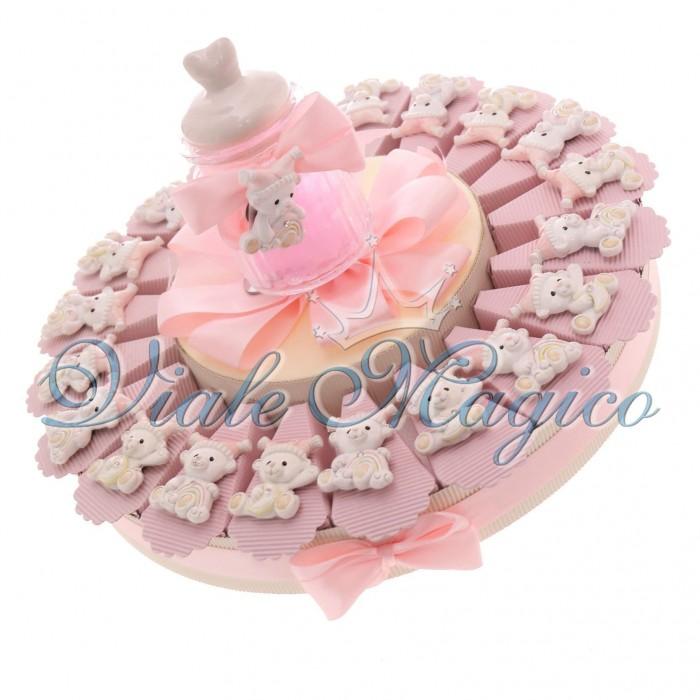 Top Torta Bomboniere Nascita Battesimo Bimba con Magnete Orsetto Offerte HO93