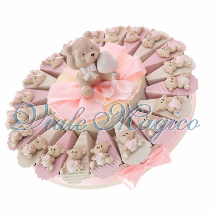 Torta Confetti Bomboniere Nascita Battesimo con Magnete Orsetto Bimba Sweet