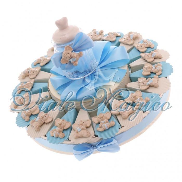 Torta Portaconfetti Bomboniere Nascita Battesimo Magnete Elefante Bimbo Sweet