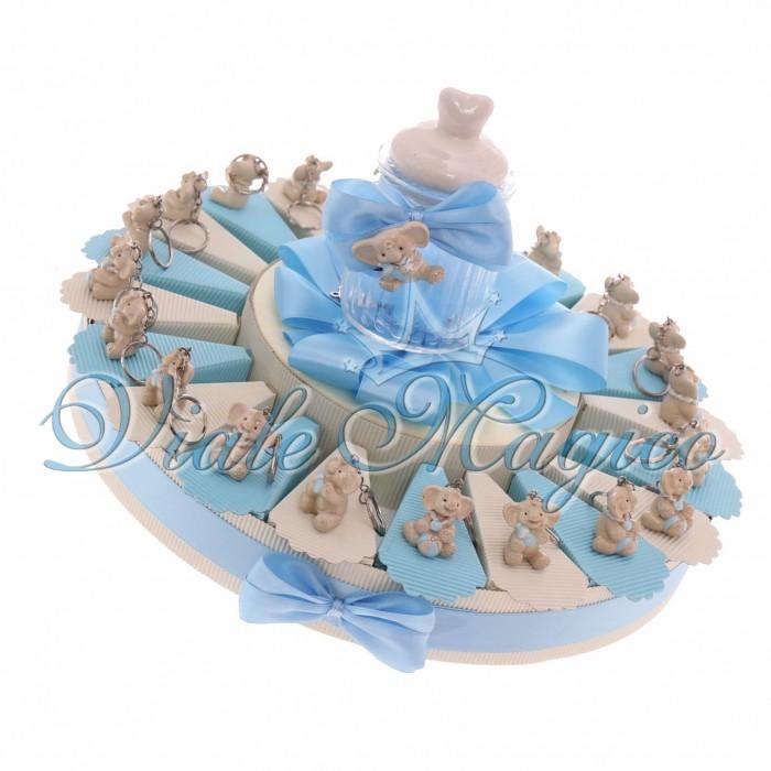 Bomboniere Nascita Battesimo Torta Portaconfetti con Portachiave Elefante Bimbo