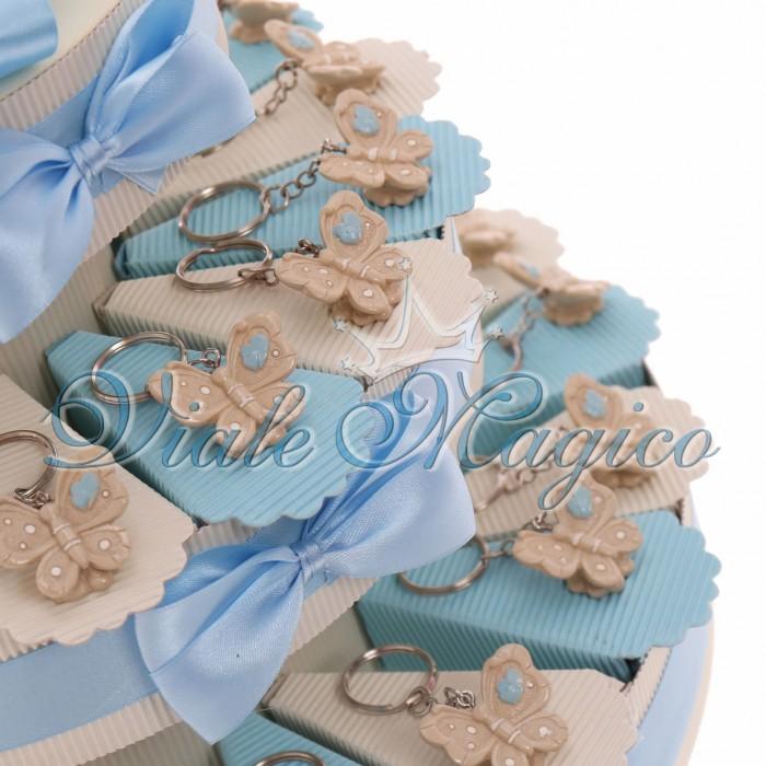Bomboniere Nascita Battesimo Torta Portaconfetti con Portachiave Farfalla Bimbo
