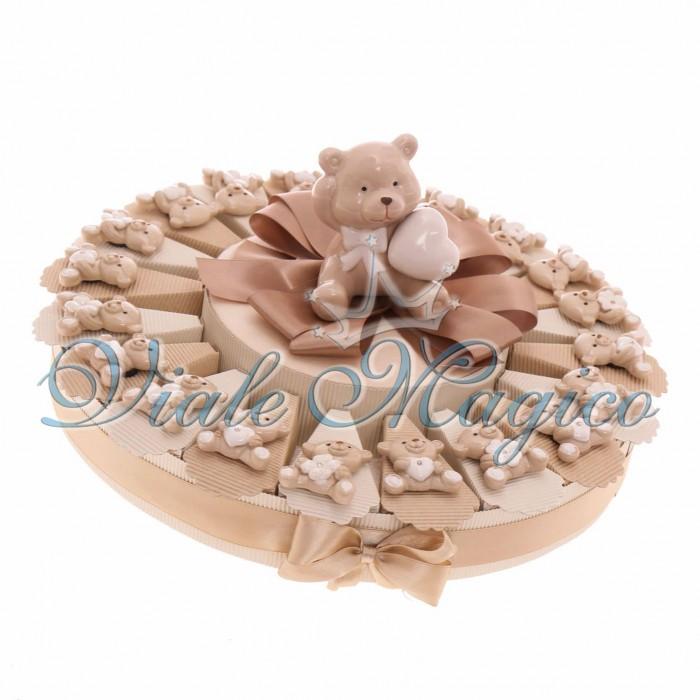 Torta Portaconfetti Bomboniere Nascita Battesimo con Magnete Orsetto Sweet