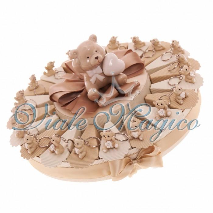 Bomboniere Nascita Battesimo Torta Portaconfetti con Portachiave Orsetto Sweet