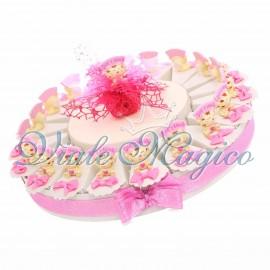 Torta Porta Confetti da 20 pezzi Compleanno Comunione Bimba Gattino