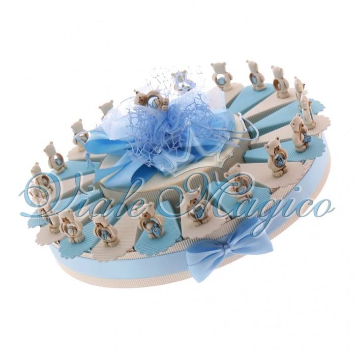 Bomboniere Nascita Battesimo Torta Portaconfetti con Statuina Orsetti Bimbo