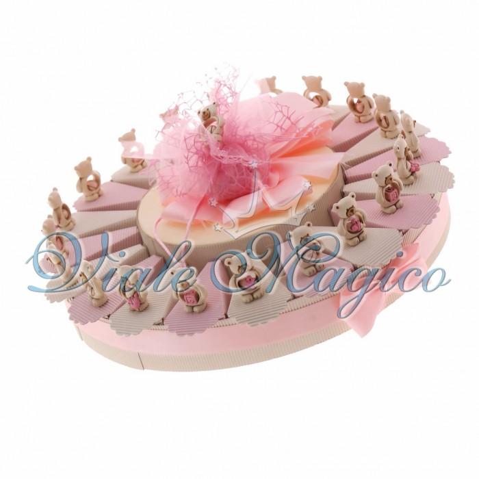 Torta Bomboniere Nascita Battesimo Portaconfetti con Statuina Orsetti Bimba