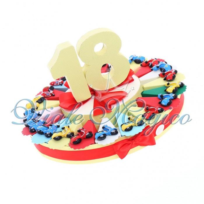 Bomboniere Compleanno Torta Confetti con Magnete Vespa 18° Compleanno Ragazzo