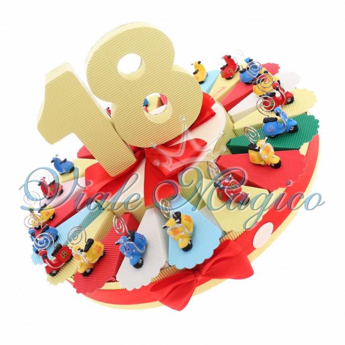 Bomboniere Compleanno Torta Confetti con Memoclip Vespa 18° Compleanno Ragazzo