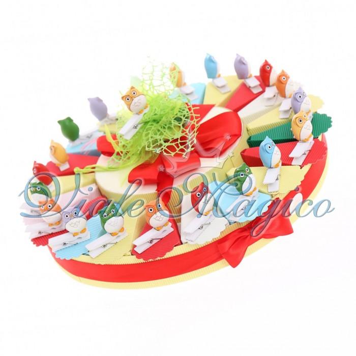 Bomboniere Torta Confetti con Mollettina Gufetto Colorato Compleanno Confetti