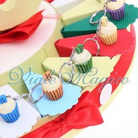 Torta Confetti con Portachiave Cupcake 18 Anni Compleanno