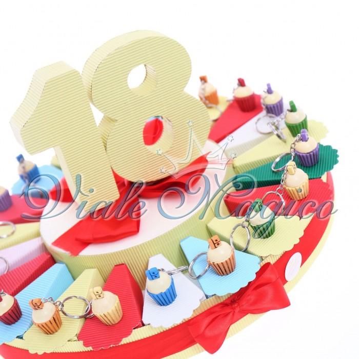 Bomboniere Alzatina Torta Confetti con Portachiave Cupcake 18 Anni Compleanno