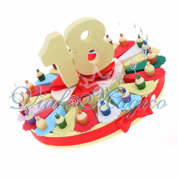 Bomboniere Torta Confetti con Memoclip Cupcake Compleanno 18 Anni Confettata
