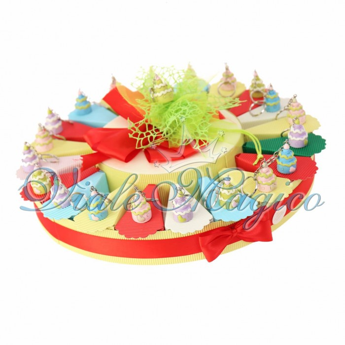 Bomboniere Offerta Torta Confetti con Portachiave Tortina Compleanno Confettata