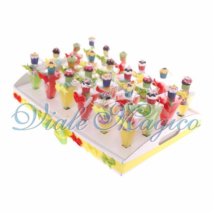 Bomboniere Confettata Omaggio Vassoio con Coni Compleanno Portachiavi Dolcetto