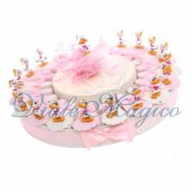 Torta Porta confetti con 20 pezzi Statuina Paperino Silver e Rosa per Primo Compleanno