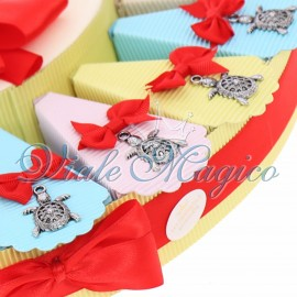 Bomboniere Compleanno Torta Confetti con Ciondolo Tartaruga Portafortuna