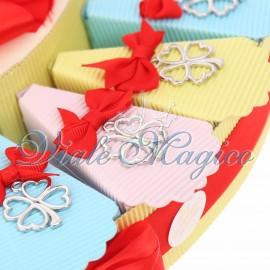 Torta Confetti Compleanno Alzatina con Ciondolo Quadrifoglio Portafortuna